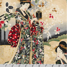 BY PANEL-Imperial Collection Geisha Red Gold Robert Kaufman 15941-91 CRIMSON