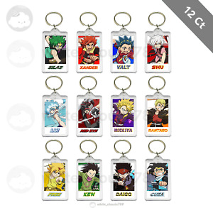 12 BeyBlade Burst Anime Characters Keychain Birthday Party Favor Gifts