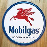 New Mobilgas Socony - Vacuum Round Tin Metal Sign NR!! Vintage NEW
