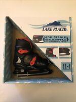 Lake Placid Black and Red Adjustable Ice Skates Kid age size 11-1 New