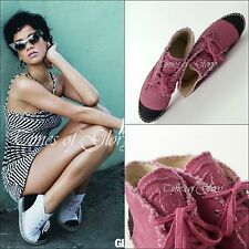 NEW Chanel CC Logo Black Pink High Top Espadrilles Flats Shoes Size 38 US7.5