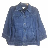 Coldwater Creek Womens Size 10 Blue Jean Jacket 3/4 Sleeve Snap Buttons Pockets