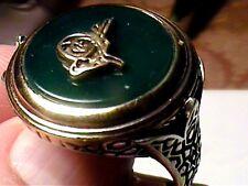 Sterling Silver 925 ring GREEN ONYX NATURAL MEN ELEGANT BOLD NICE 11 BOLD  NICE