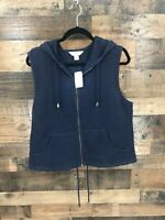 New CJ Banks Women's Navy Waffle Knit Full Zip Hooded Vest Size 14W.