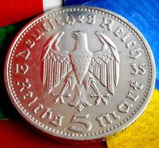1935-D NAZI HINDENBURG 5 Mark .900 SILVER COIN-German WW2 GERMANY 5 ReichsMark