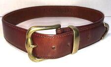 Fossil Mens Brown Leather Wide Hip Belt Brass Buckle Size Medium