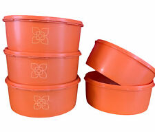 "More details for 5 x vintage tupperware harvest orange 3 starburst lids 8"" diameter round cake"