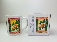 Vintage 1985 Mary Engelbreit Christmas Mug Merrily Boy Sledding New W/ Box Nos