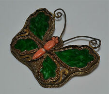 Antique Chinese Jadeite Jade and Coral in Gilt Silver Butterfly Moth Pin Brooch
