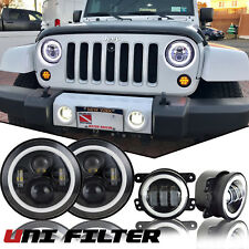7 Inch LED Headlights Halo Angle Eyes w/ Fog Lights For Jeep Wrangler JK 07-18