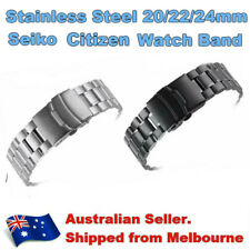 Silver Stain Black Steel Oyster Bracelet Band For 20/22/24mm Seiko Citizen Watch