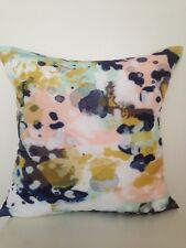 Watercolour Navy Pink Mustard Abstract Soft Square Pillow Cushion Cover 45 cm