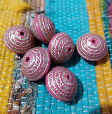 Beautiful Aztec beads x6 pink cerise gold large