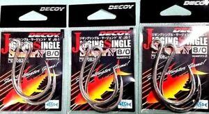 Decoy Jigging Single Hooks 3 x packs of 8/0 in-line hooks  for trolling lures