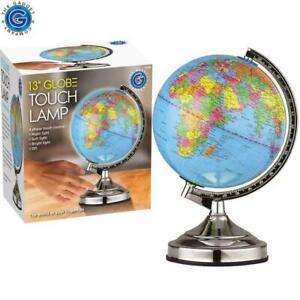 New Illuminated World Globe 4 Way Touch Control Night Light Up Table Lamp Chrome