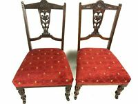 Pair of Victorian Carved Mahogany Ladies Chairs [5488]