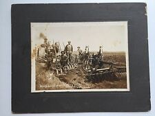 Vintage 1910 Photograph of George & Malcomson Tractor and Horse Plow in Field