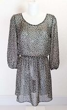 ASOS black white Sheer chiffon elasticated waist 3/4 sleeve long Tunic dress 10