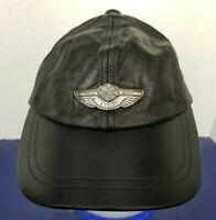 Harley Davidson 100th Anniversary Adjustable Black Leather Baseball Cap Hat