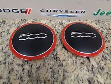 12-17 Fiat 500 Wheel Black Center Cap Red Trim Mopar Oem  Factory Set of Four