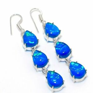 """Australian Triplet Opal Gemstone .925 Silver Handmade Jewelry Earring 3.15 """""""