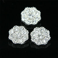 6 Pcs Crystal Rhinestone Silver Shank Button Flower Shaped Buttons Sewing Craft