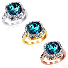 SIZE8 18K WHITE GOLD OVER CRYSTAL BLUE TOPAZ COCKTAIL RING Free & Fast Shipping
