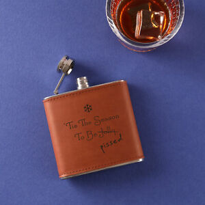 """""""Tis The Season To Be Jolly (P*ssed) """" Leather Hip Flask - Funny Christmas Gift"""