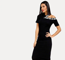SHEIN Cut-Out Shoulder Slogan Tape Rib Midi Dress~Fits Large to Extra-Large
