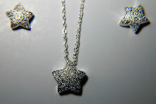 Lovely 17 Inch Silver Necklace With Chrystal Pave Star Pendant And Earrings