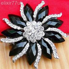 HOT LARGE SILVER SPARKLY DIAMANTE RHINESTONE CRYSTAL FLOWER BROOCH FREE GIFT UK