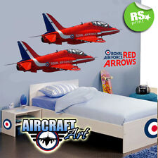 2 RED ARROWS AEROPLANE AIR FORCE WALL STICKER PLUS LOGOS BEDROOM DECAL STICKER