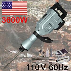 Heavy Duty Electric 3600 Watt Demolition Jack hammer Concrete Breaker Gray
