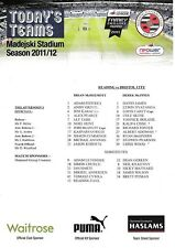 Teamsheet - Reading v Bristol City 2011/12