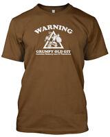 'WARNING GRUMPY OLD GIT' Funny Slogan Mens Tshirt Fathers Day Gift Birthday Xmas