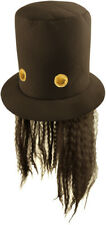 Adult 80's Guitar Man Hat - Slash Guns 'n Roses Fancy Dress Hat & Wig Hair Rock