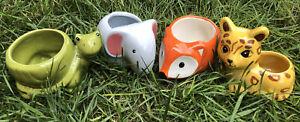 NEW Set Of 4 Ceramic Animal Planter For Succulents Jaguar/Elephant/Fox/Turtle