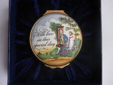 """Halcyon Days Bilston & Battersea Enamel Box """"With Love on this Special Day"""""""