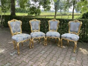 Louis XVI Style 4 dining chairs - Blue Damask Gold Leaf Handcrafted Frame