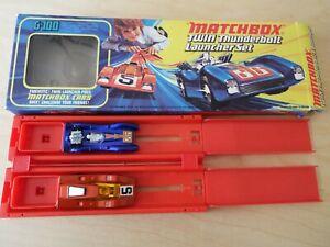 1972 Lesney Matchbox Twin Thunderbolt Launcher Set, Blue Shark + Happy Hustler