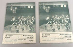 St. Joseph's Temple Vs. West Texas State Louisville - 1952 Basketball Review(x2)