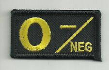 Yellow Black Blood Type O- Negative Patch Iron on Sew On