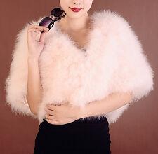 Real Ostrich Feather furry Fur jacket bolero bat sleeves wedding bridal dress sz