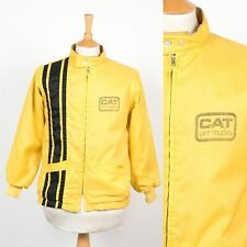 MENS VINTAGE 70'S CAT LIFT TRUCKS USA NYLON JACKET YELLOW RACER ROCKABILLY S