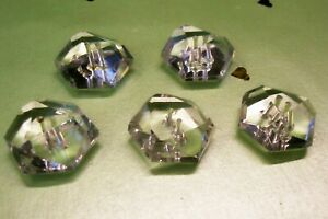 5 vintage (unused) clear glass hexagonal multifaceted buttons 21 mm. diam