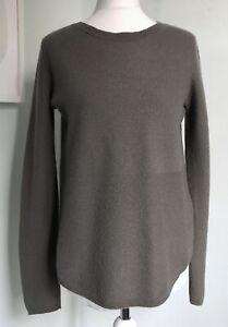 JIGSAW Khaki Green Pure Cashmere Contrast Knit Jumper S UK 10 Soft Curved Hem