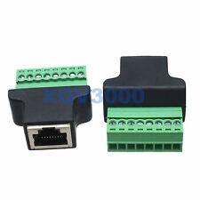 1pce Ethernet RJ45 Female jack AV SCREW NUT Terminal 8pin Converter Adapter