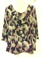 WOMEN'S EAST 5TH MULTI-COLOR PRINT LIQUID KNIT STRETCHY TOP WITH RUFFLE SIZE 1X