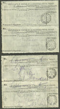 4 X CERTIFICATE OF POSTING OF A REGISTERED POSTAL PACKET 2 JOINED PAIRS NORWOOD