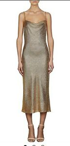 SHONA JOY Gold Evening  MIDI DRESS Current Season BNWT 8